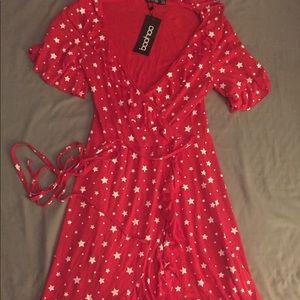 Boohoo Red and White Stars wrap dress